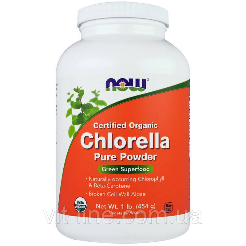 Now Foods, Сертифицированная натуральная хлорелла, чистый порошок, (454 г)