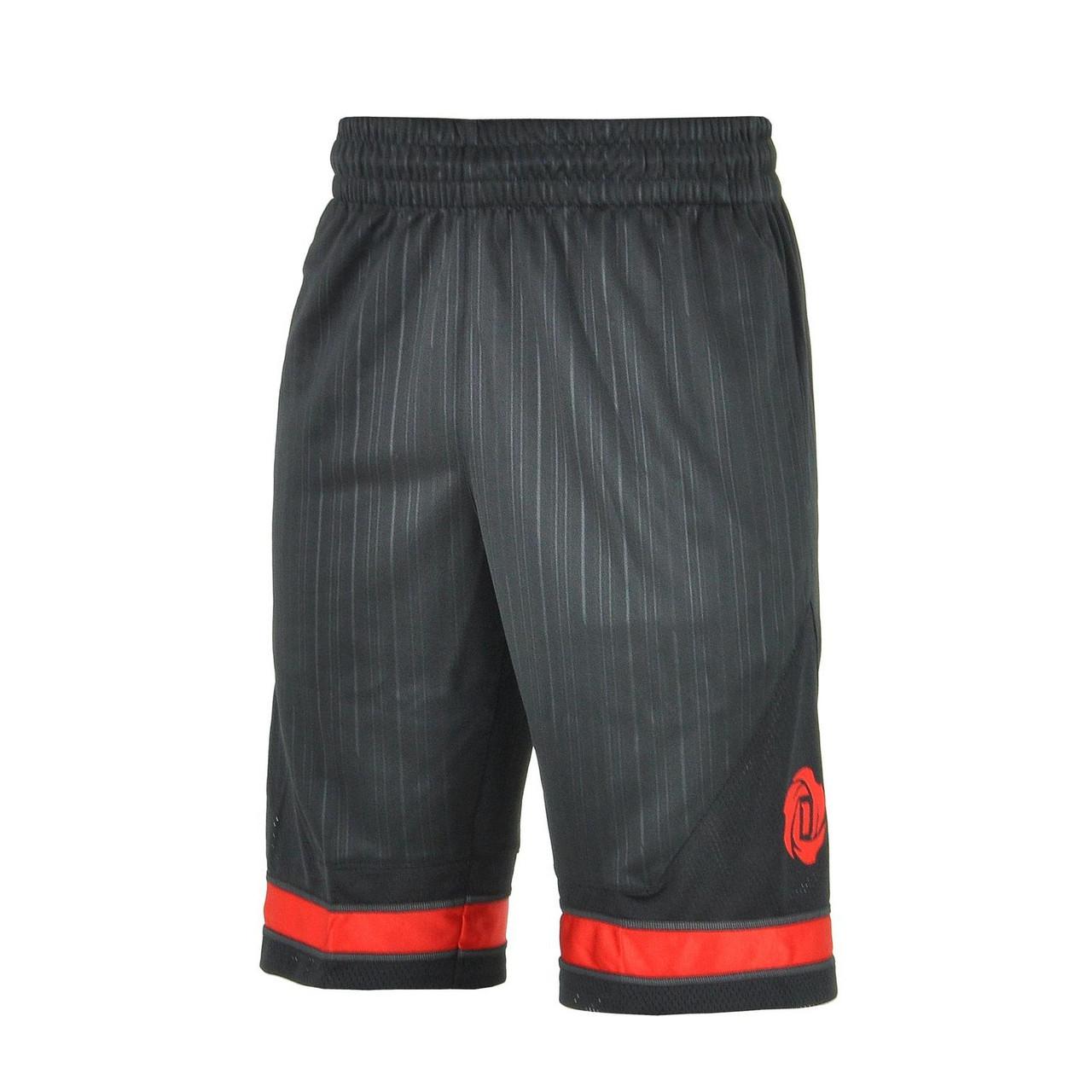 Шорты баскетбольные мужские adidas Rose Squad AH4038 (черные с красным, тренировочные, с логотипом адидас)