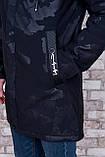 Чоловіча демісезонна куртка (подовжена), чорного кольору, фото 4