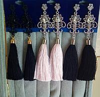 Серьги кисточки, удлиненные шелковые кисти, черные,  высота 12 см.