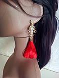 Сережки пензлики, подовжені шовкові китиці, рожеві, висота 12 див., фото 3