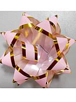 Бантик розовый с золотой окантовкой, фото 1