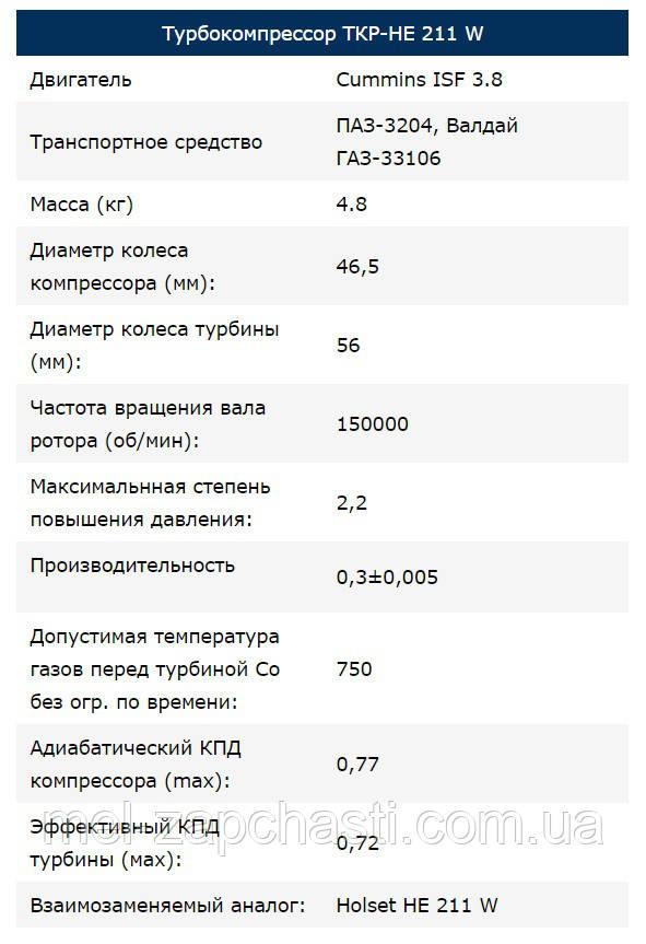 Турбокомпрессор ТКР НЕ 211 W