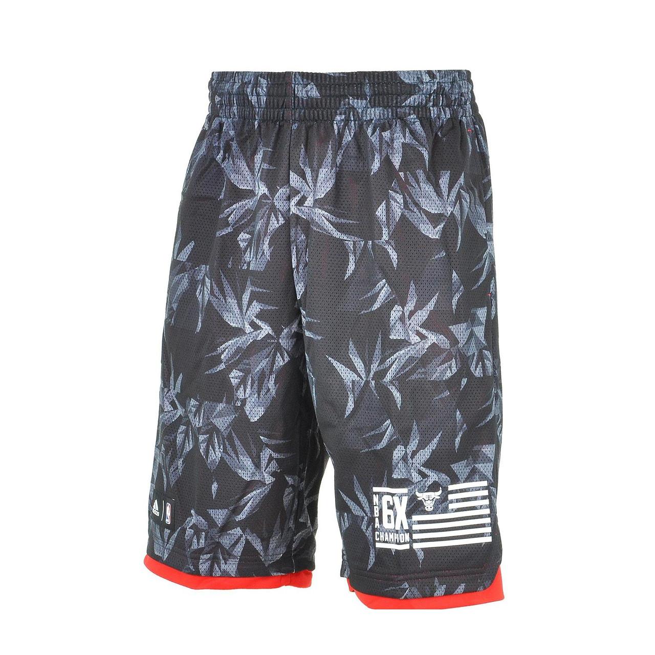 1740aa02 Шорты баскетбольные мужские adidas NBA Bulls Shorts AH5065 (серые,  полиэстер, для тренировок,