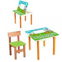 Столик с ящиком и стульчиком, деревянный, F09-5 русский алфавит
