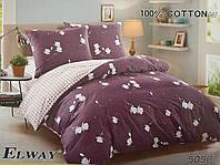 Сатиновое постельное белье евро ELWAY 5056