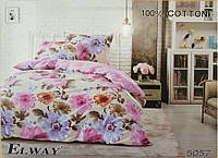 Сатиновое постельное белье евро ELWAY 5057