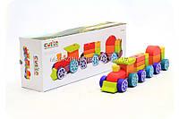 Бесплатная доставка. Детский деревянный конструктор поезд Cubika(Кубика) 12923. Деревянные эко игрушки