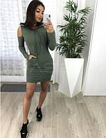 Женское короткое платье с открытыми плечами (5расцв.)