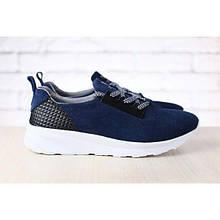 Женские кроссовки, темно-синие, замшевые, на белой подошве, на шнурках  39