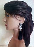 Сережки пензлики, подовжені шовкові китиці, чорні, висота 13 див., фото 2