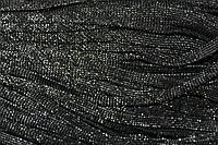 Шнур плоский 8мм (100м) черный + серебро