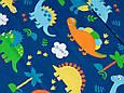 Сатин (бавовняна тканина) на синьому тлі динозаври (ширина 240 см), фото 2