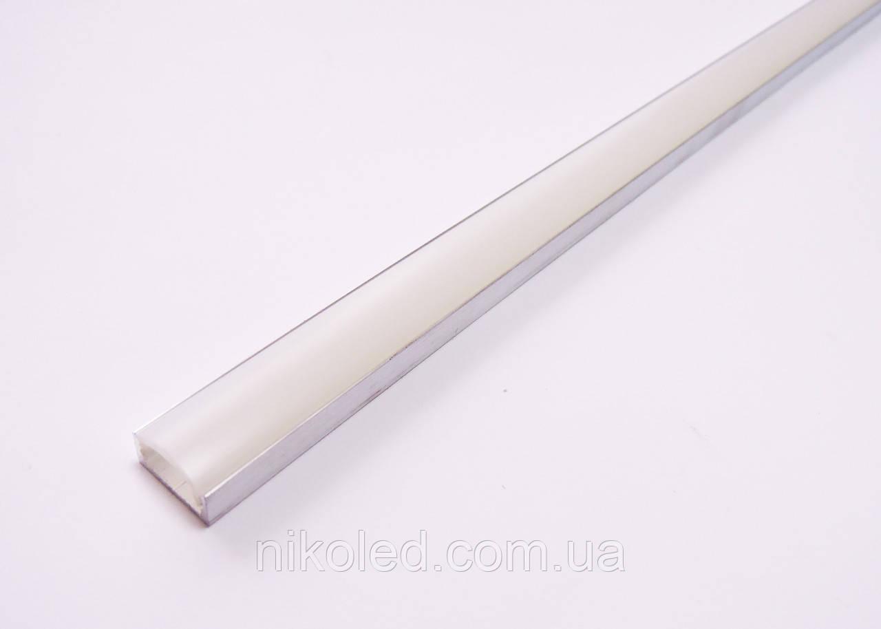 LED Профиль накладной с рассеивателем 15*6*2000 мм не анодированный