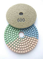 """Гибкие полировальные круги """"3-цвета"""", алмазные липучки, """"Черепашки"""" для полировки гранита d100mm №600"""