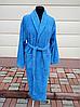 Махровый мужской халат синего цвета (XL)