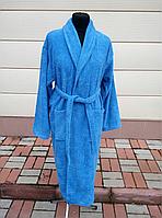 Махровый мужской халат синего цвета (XL), фото 1