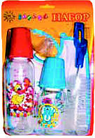 Набор подарочный (2 бутылочки, комплект ершиков, пустышка, слюнявчик), арт. 087 - 2 шт