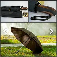 Мужской черный зонт полный автомат, система антиветер