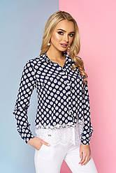 """Нарядная женская блузка-рубашка с карманами спереди и кружевом снизу """"Мирэй"""" 2"""