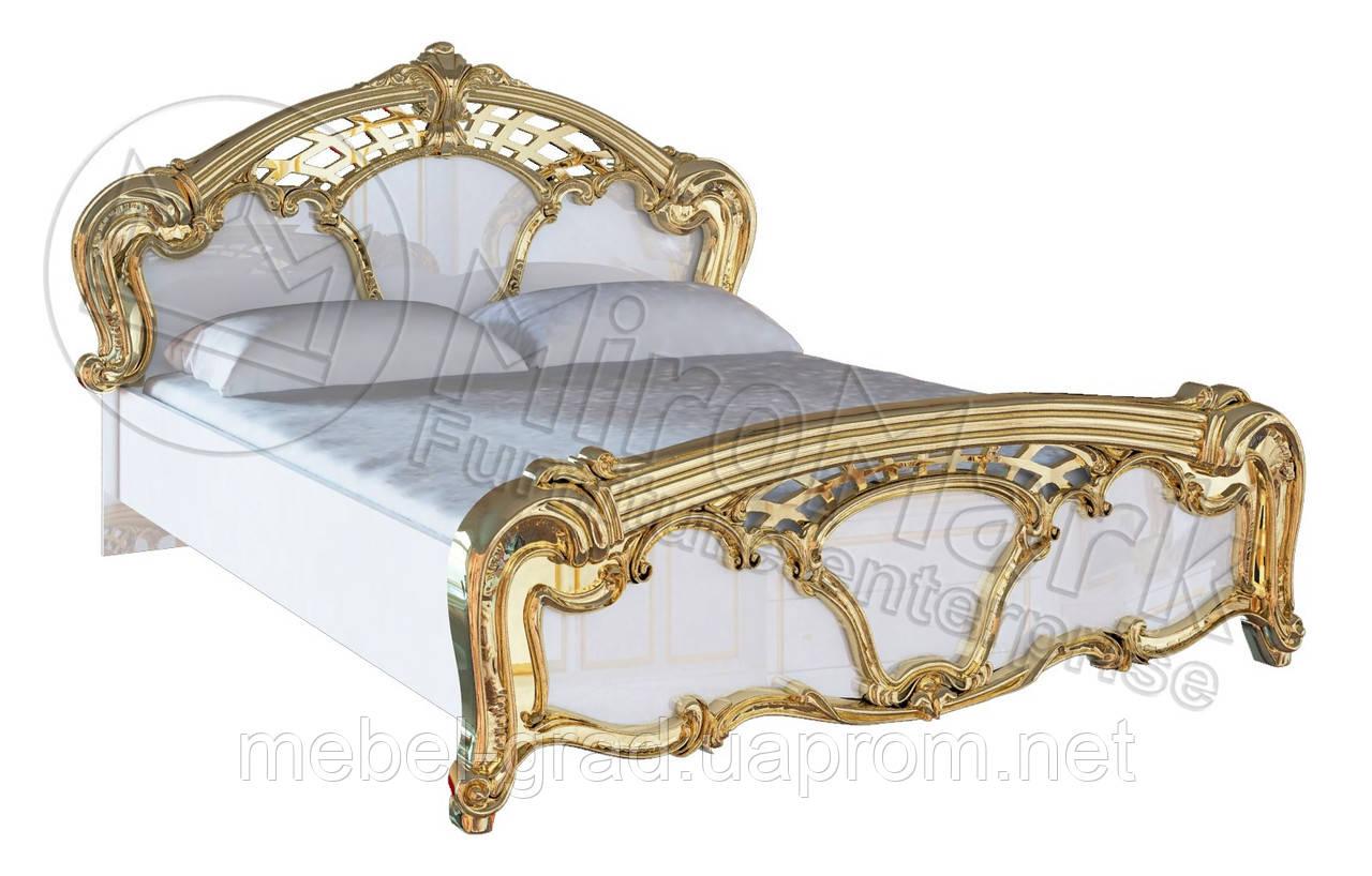 Кровать двухспальная Ева / Eva MiroMark 160х200 белый глянец - золото