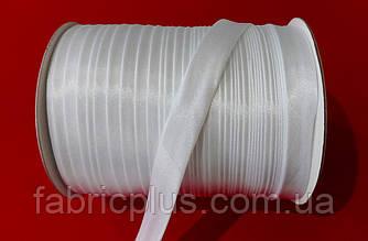 Косая бейка атласная  15 мм (0), белая
