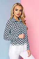 """Нарядная женская блузка-рубашка с карманами спереди и кружевом снизу """"Мирэй"""" 3"""