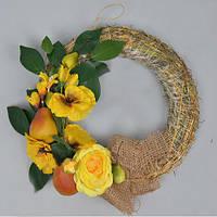 Венок на дверь с цветами  Пасхальный декор