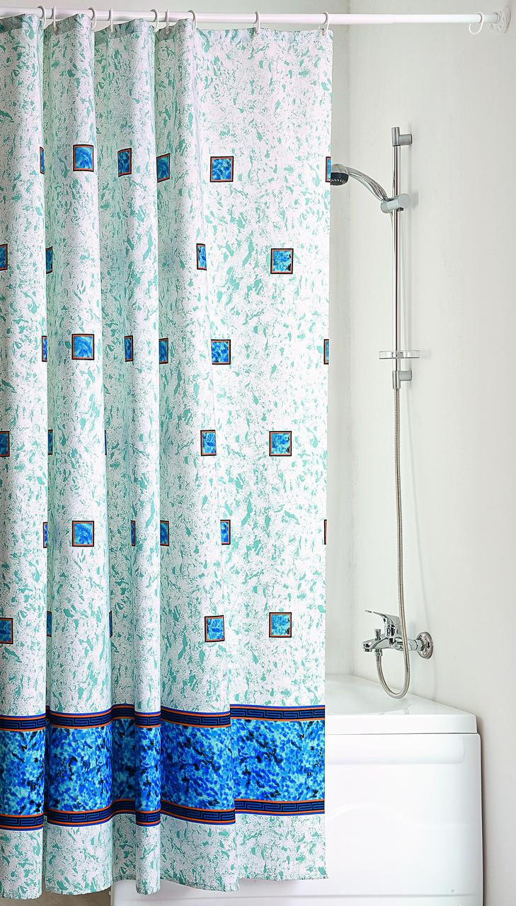 """Штора для ванной текстильная с кольцами точный размер 180x200 см """"Изумруд"""""""