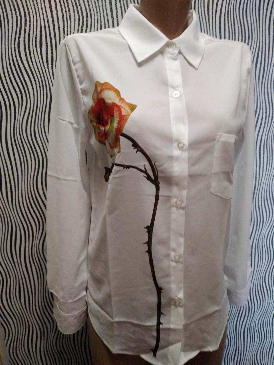 6c1746d0b3e Женская белая блуза-рубашка длинный рукав с принтом