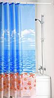 """Штора в ванную текстиль 180 x 200 см """"Пляж"""", Киев"""