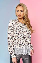 """Нарядная женская блузка-рубашка с карманами спереди и кружевом снизу """"Мирэй"""" 15"""