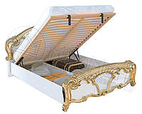 Кровать двухспальная с подъемным механизмом Ева / Eva MiroMark 160х200 белый глянец - золото