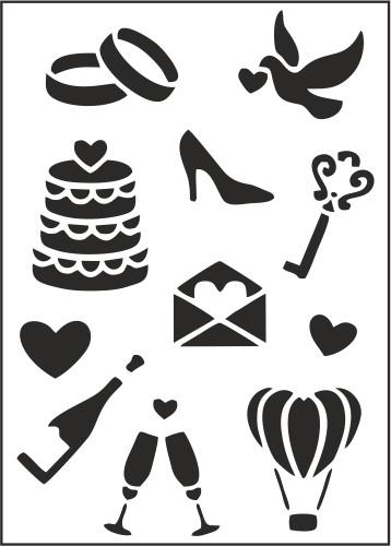 """Трафарет многоразовый """"Свадебные иконки"""" (код 02494)"""
