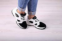 Женские черно-белые кроссовки натуральная кожа замша, фото 1