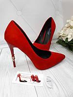 Туфли  женские лодочки классические шпилька красный замш, фото 1