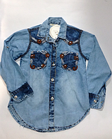 Джинсовая детская рубашка для девочек от 3 до 7 лет.