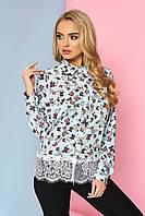 """Нарядная женская блузка-рубашка с карманами спереди и кружевом снизу """"Мирэй"""" 17"""