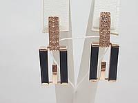 Золотые серьги с агатом и фианитами. Артикул 459308, фото 1