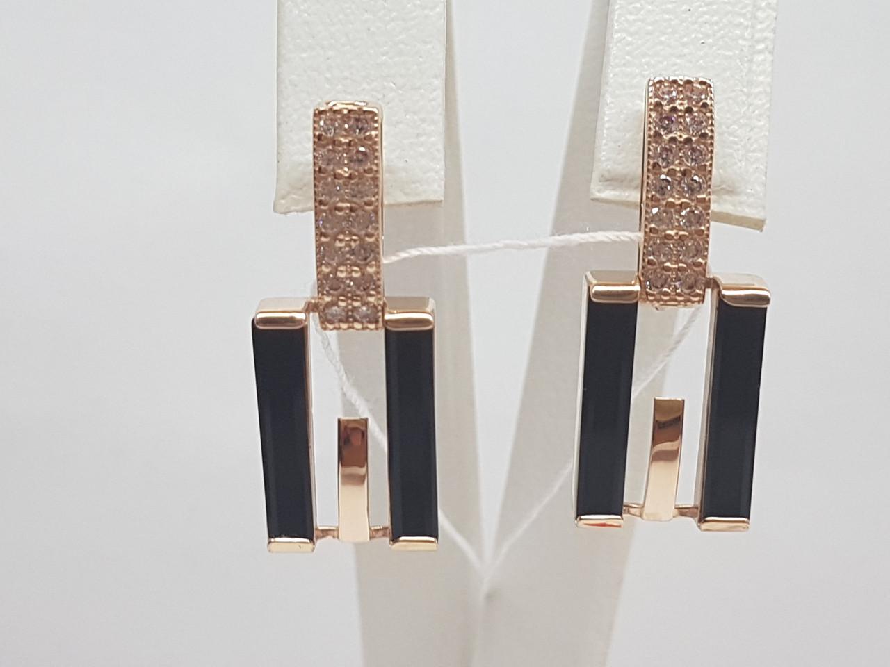 Золотые серьги с агатом и фианитами. Артикул 459308