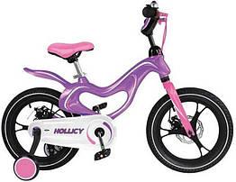 Дитячий двоколісний велосипед Hollicy 16 дюймів фіолетовий