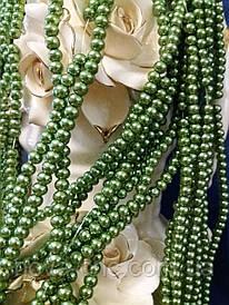 Керамічні намистини оливкові діаметр 6 мм на нитці