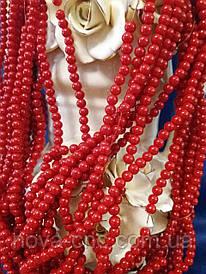 Керамічні намистини червоні діаметр 6 мм на нитці
