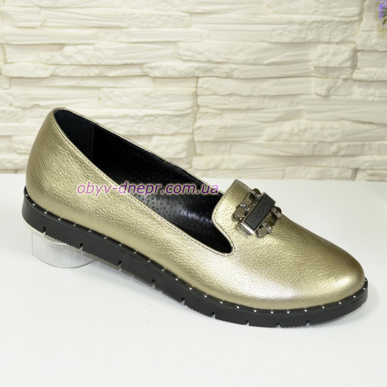 Женские кожаные туфли на низком ходу, цвет бронза