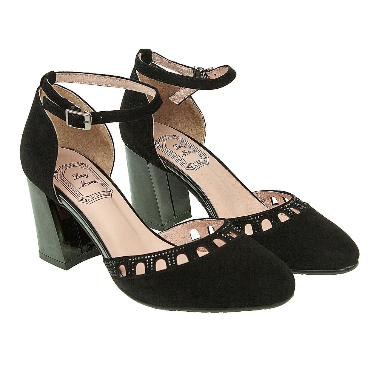 f0f886f8ae3b Босоножки женские Lady Marcia (черные, замшевые, с закрытым носком), цена  995 грн., купить ...