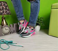 Кроссовки женские в стиле аирмакс серые с бирюзово-розовыми вставками