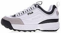 Женские кроссовки Fila Disruptor 2 White (Фила Дисраптор) белые с черным
