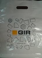 Пакет банан 40х50, 50 мкм.  с логотипом. min тираж -100 шт