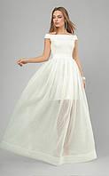 Платье вечернее 3257, белое пышное платье, платье на выпускной, выпускное платье, платье в пол