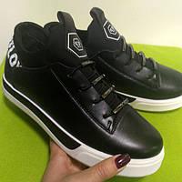 Ботинки короткие, слипоны мокасины кроссовки черные, демисезонная обувь, женская обувь опт и розница